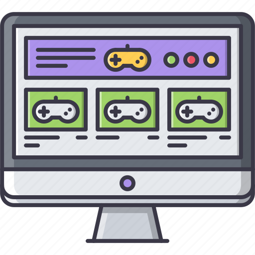 fun, game, monitor, party, sale, video, website icon