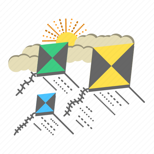 cloud, fly, flying kite, fun, kite, sky, wind icon
