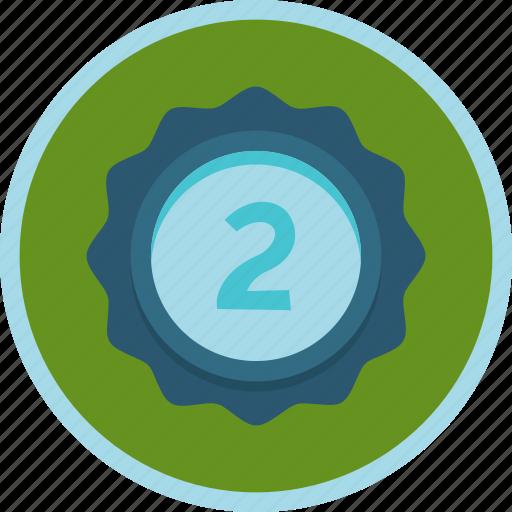 achievement, award, badge, prize, second, silver icon