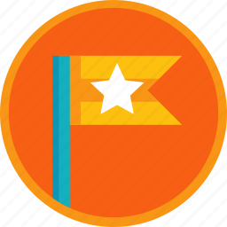 achievement, badge, first, flag, gamification, prize, star, winner icon