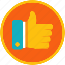 achievement, appreciate, approve, award, badge, gamification, gold, hand, like, thumb, up icon