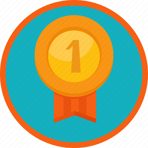 achievement, award, badge, best, first, gamification, gold, medal, prize, reward, trophy, win, winner icon
