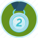 achievement, award, badge, gamification, medal, prize, reward, second, silver icon