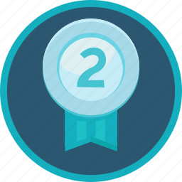 achievement, award, badge, medal, prize, second, silver, two icon