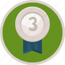medal, third, bronze, trophy, badge, achievement icon