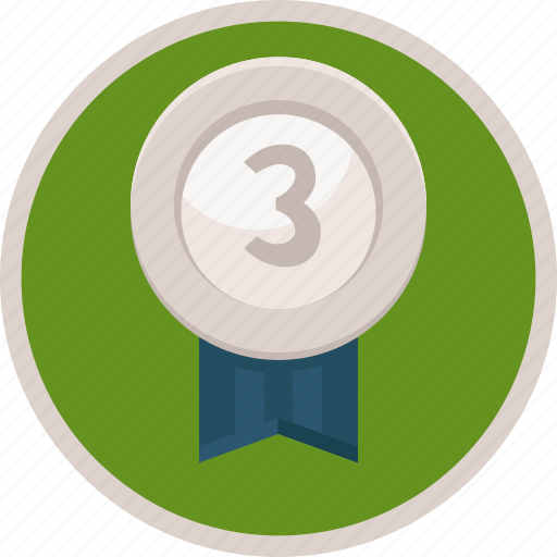 achievement, badge, bronze, medal, third, trophy icon