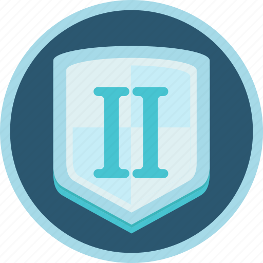 achievement, badge, gamification, second, shield, silver icon