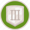 gamification, badge, achievement, third, shield, bronze icon