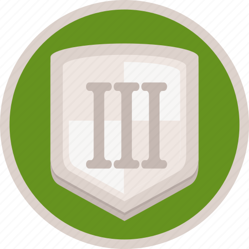 achievement, badge, bronze, gamification, shield, third icon