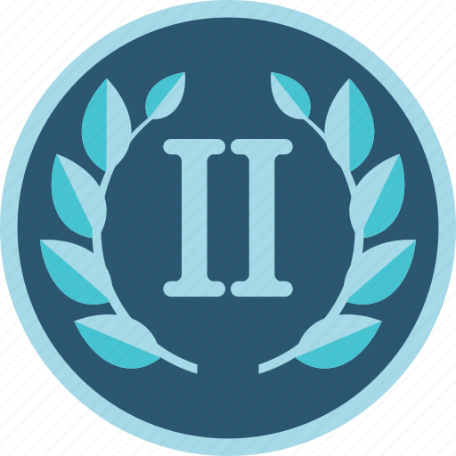 achievement, award, badge, gamification, prize, second, silver, win, wreath icon