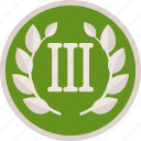 achievement, badge, bronze, gamification, prize, reward, third, trophy, wreath icon