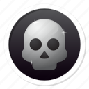 badge, bone, danger, dark, darkness, dead, deadly, death, end, forbidden, fun, game over, halloween, head, heavy metal, horror, kill, metal, pirate, poison, punk, radioactive, skeleton, skull, warning icon