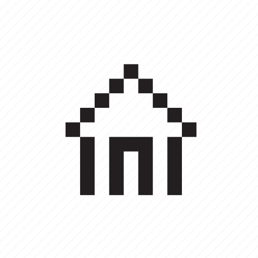 building, homepage, house, main, pixelated icon
