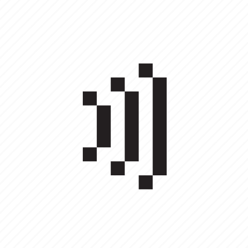pixelated, signal, sound, waves, wireless icon