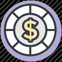 casino chip, casino game, dollar, gambling, poker, poker chip icon