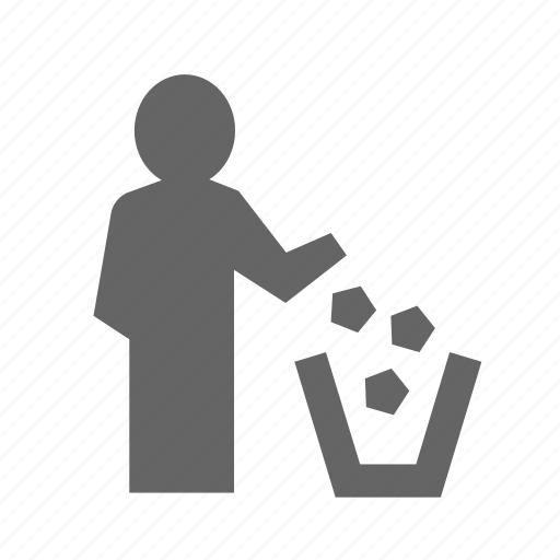 basket, bin, garbage, rubbish, throw, throwing, trash icon