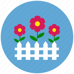 flowers, garden, nature, picket fence, protection icon