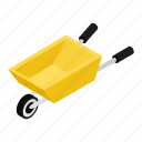 agriculture, cart, gardening, hand, isometric, metallic, wheelbarrow icon