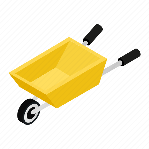 Agriculture, cart, gardening, hand, isometric, metallic, wheelbarrow icon - Download on Iconfinder