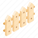 construction, fence, garden, isometric, kit, set, wood icon
