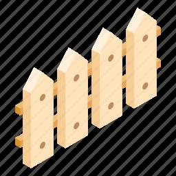 construction, fence, garden, isometric, kit, set, wood icon