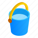 bin, bucket, carry, fill, fluid, isometric, transfer icon