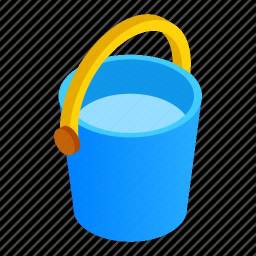 bin, bucket, carry, fill, fluid, isometric, transfer icon