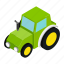 agricultural, agriculture, agronomy, crop, isometric, outline, tractor icon