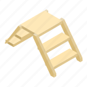 isometric, wooden, ladder, step, background, white, drawing