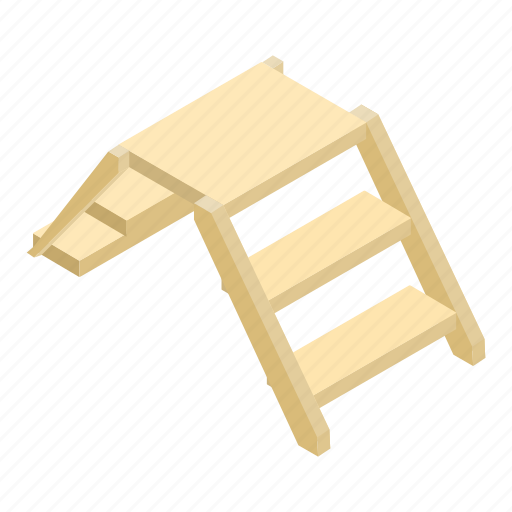 background, drawing, isometric, ladder, step, white, wooden icon