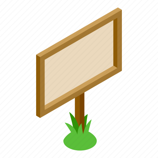 banner, blank, grass, isometric, signboard, signpost, wood icon