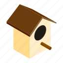 bird, birdhouse, birding, box, isometric, nest, outdoor icon