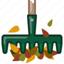 fall, garden, gardening, leaves, rake, tool, yumminky icon
