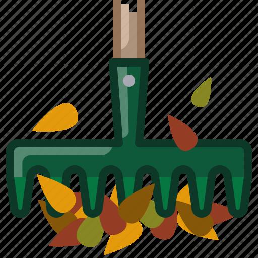 fall, garden, gardening, leaves, rake, tool, yumminky icon