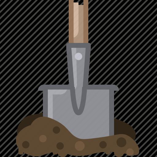 earth, garden, gardening, shovel, tillage, tool, yumminky icon