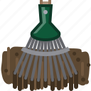 earth, garden, gardening, rake, tillage, tool, yumminky icon