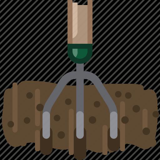 earth, garden, gardening, rake, tillage, tool, yumminky icon
