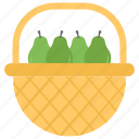 avocado basket, fresh farm fruits, fruit basket, organic food, pears icon