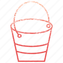 bucket, container, equipment, gardening, pail, pot, water icon