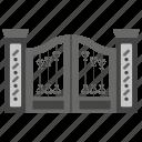 amusement park, fence, garden gate, main entrance, main gate, parkgate icon