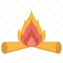 burning woods, campfire, camping light, fire, firewood icon