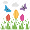 conventional, floral fields, season, spring, weather