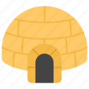 igloo, shelter house, snow house, snow hut, snow shelter icon