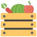 fresh food, fruit basket organic food, harvest, vegetable basket icon