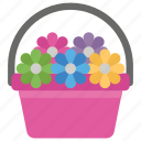 floral bucket, flower basket, flower bed, flower decoration, gift basket icon