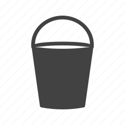 bucket, container, fill, pouring, tin, water, wet icon