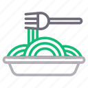 food, fork, meal, noodles, spoon icon