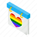 calendar, date, day, heart, month, rainbow, sometric icon