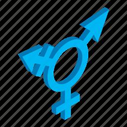 arrow, bigender, bisexual, gender, isometric, man, sexual icon