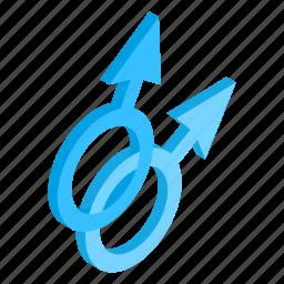 isometric, love, male, men, relationship, sex, union icon